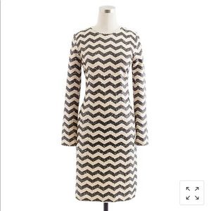 JCrew Zigzag-striped sequined dress
